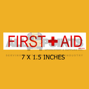 "DECAL - FIRST AID, 7x1.5"", Red on White"