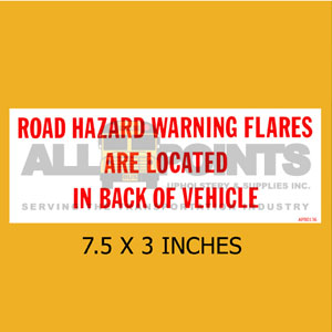 DECAL - HAZZARD WARNING FLARES.., Red on White