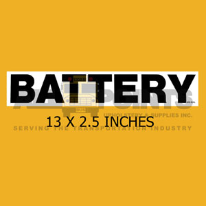 "DECAL - BATTERY, 13x2.5"", BLACK ON CLEAR"