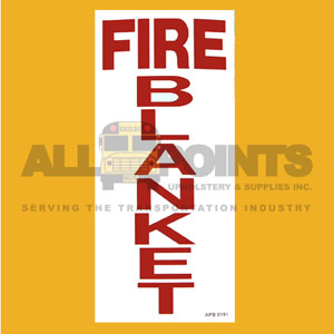 "DECAL - FIRE BLANKET, 10X4.5"", RED ON WHITE"