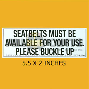 "DECAL - BUCKLE UP, 5.5X2"", BLACK ON WHITE, LIVERY"