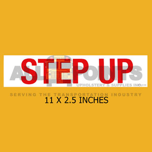 "DECAL - STEP UP, 11X2.5"", RED ON WHITE"