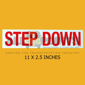 "DECAL - STEP DOWN, 11X2.5"", RED ON WHITE"