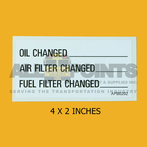 "DECAL - OIL, AIR, FUEL FILTER CHANGE, 4X2"", BLACK"
