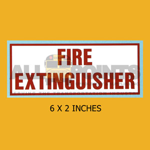 "DECAL - FIRE EXTINGUISHER, 6X2.25"", RED ON WHITE"