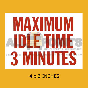 "DECAL - MAX IDLE TIME 3 MIN, 4X3"", RED ON WHITE"