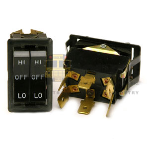 DUAL ROCKER SWITCH, 6 BLADE, LO/OFF/HI