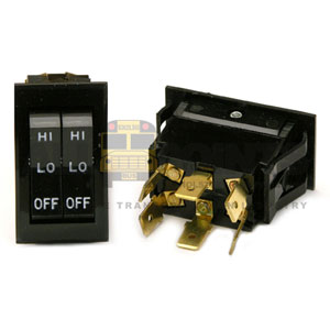 DUAL ROCKER HEATER SWITCH, 6 BLADE, OFF/LO/HI