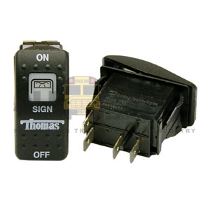 THOMAS ROCKER SIGN SWITCH, 4 BLADE, ON/OFF