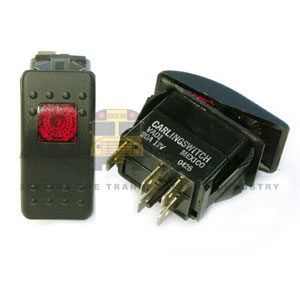 ROCKER ON/OFF SWITCH WITH RED INDICATOR, 5 BLADE