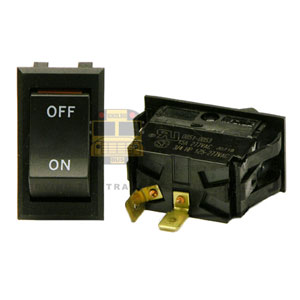 ROCKER SWITCH, ON/OFF W/ORANGE INDICATOR, 2 BLADE