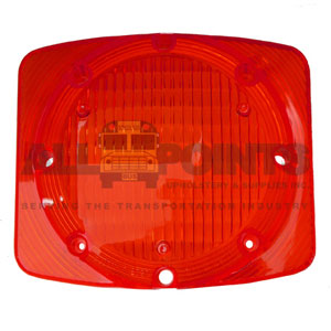 RECTANGULAR WARNING LIGHT LENS, RED