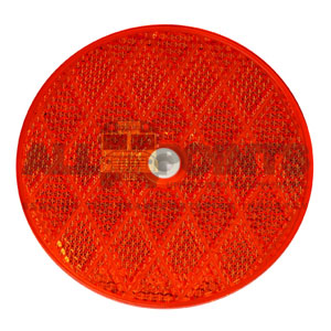 "3.25"" ROUND CENTER HOLE REFLECTOR, RED"
